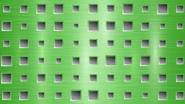 Fond abstrait en métal avec des trous carrés dans des couleurs vertes et grises