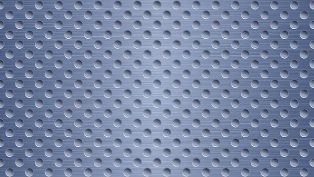 Fond abstrait en métal avec des trous dans des couleurs bleues