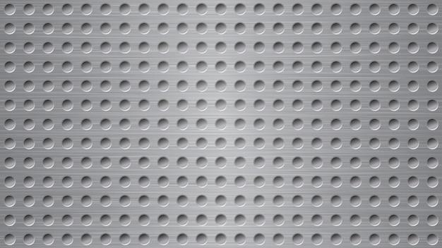 Fond abstrait en métal avec des trous dans des couleurs grises
