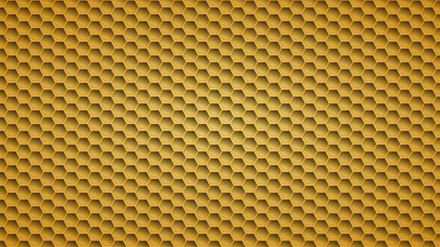 Fond abstrait en métal avec des trous hexagonaux dans des couleurs jaunes