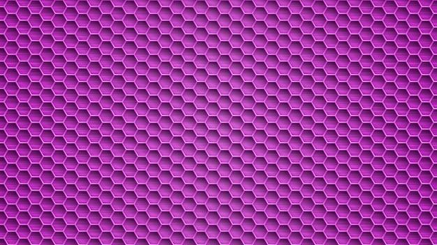 Fond abstrait en métal avec des trous hexagonaux dans des couleurs pourpres