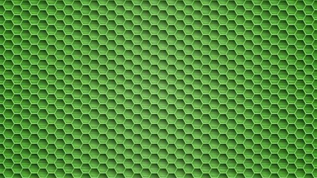 Fond abstrait en métal avec des trous hexagonaux dans des couleurs vertes