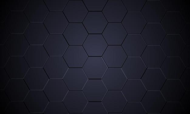 Fond abstrait métallique hexagonal gris foncé