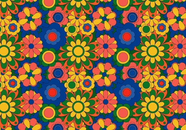 Fond abstrait motif floral groovy. illustration vectorielle.