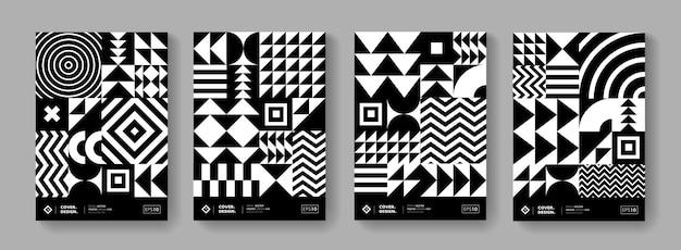 Fond abstrait motif géométrique bauhaus. collection d'affiches de design suisse noir et blanc. éléments de forme monochrome minimes.