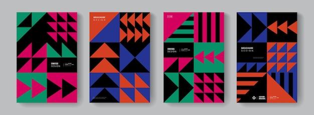 Fond abstrait motif géométrique suisse. collection d'affiches de design bauhaus noir et blanc. éléments de forme monochrome minimes.