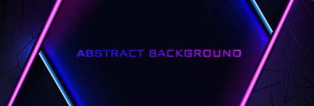 Le fond abstrait néon avec une ligne de lumière bleue et rose et une texture.