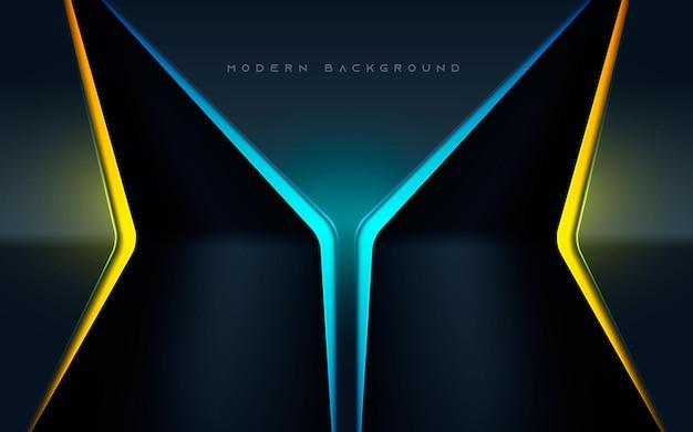 Fond abstrait noir de luxe avec effet de lumière bleu et jaune