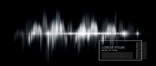 Fond abstrait avec une onde sonore, version noir et blanc.