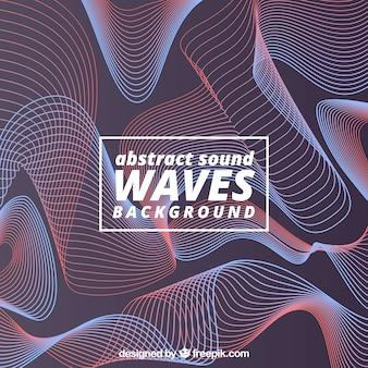 Fond abstrait avec des ondes sonores rouges et bleues