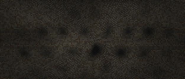 Fond abstrait radial de points d'or.