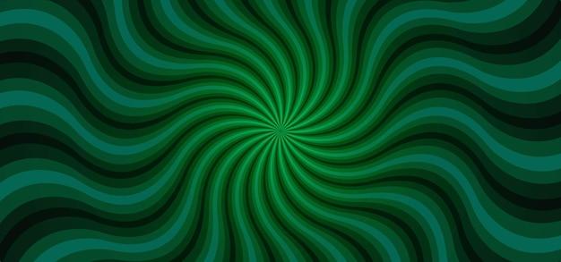 Fond abstrait de rayons de soleil vert vagues