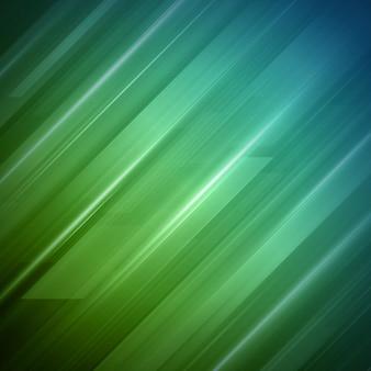Fond Abstrait Rayures Vertes Géométriques. Conception Futuriste Colorée De Lignes D'acier Glissant Vers Le Bas. Vecteur Premium