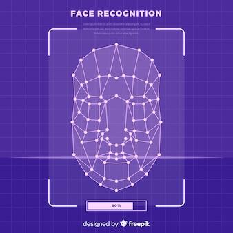 Fond abstrait reconnaissance visage plat
