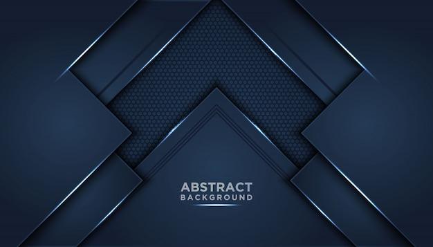 Fond abstrait sombre avec des couches de chevauchement bleu foncé.