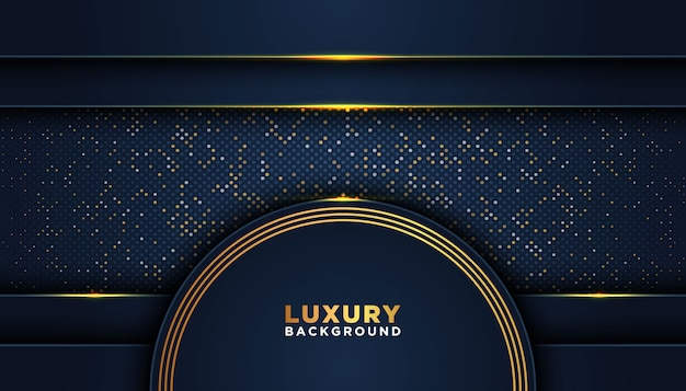 Fond abstrait sombre avec des couches de chevauchement. concept de design de luxe. paillettes dorées points décoration élément. concept de design de luxe.