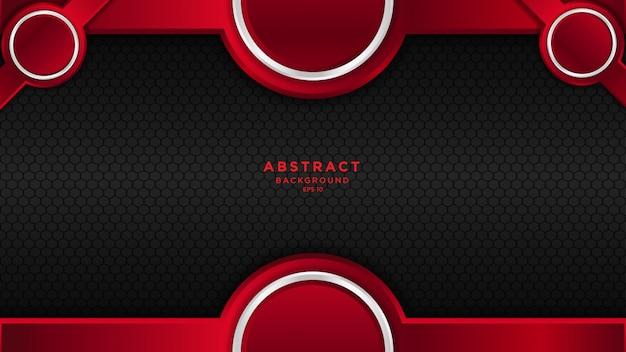 Fond abstrait sombre avec des couches de chevauchement noir rouge et cercle.