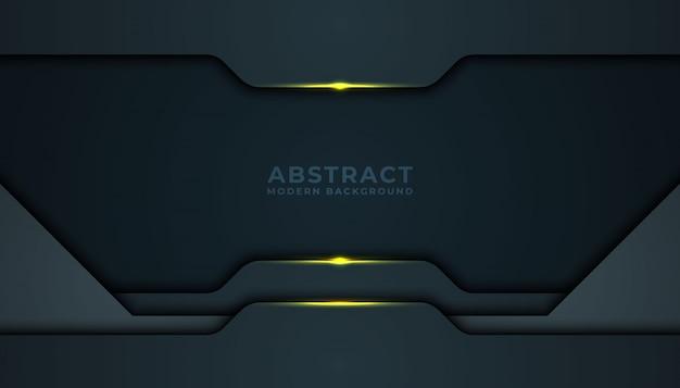 Fond abstrait sombre avec des couches de chevauchement noires. texture avec décoration élément effet doré.