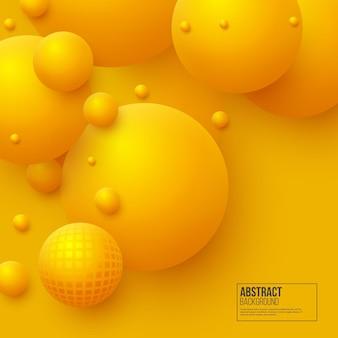 Fond abstrait de sphères flottantes. boules jaunes 3d.