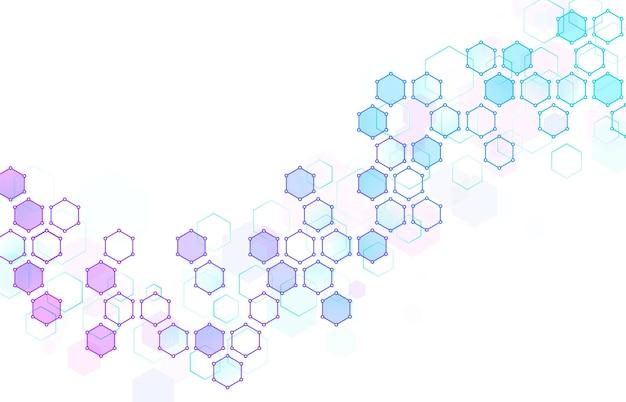 Fond abstrait structure moléculaire hexagonale