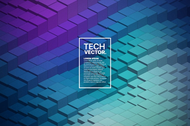 Fond abstrait technologie 3d forme d'onde