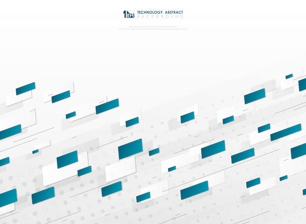 Fond abstrait technologie géométrique carré bleu dégradé.