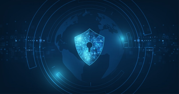 Fond abstrait technologie numérique de sécurité. mécanisme de protection et confidentialité du système.