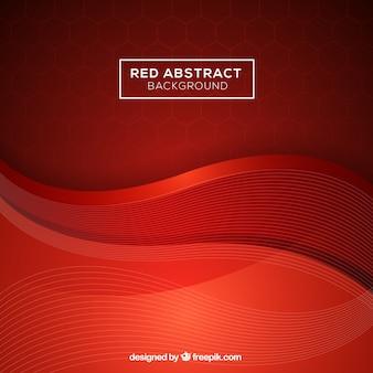 Fond abstrait avec des vagues rouges