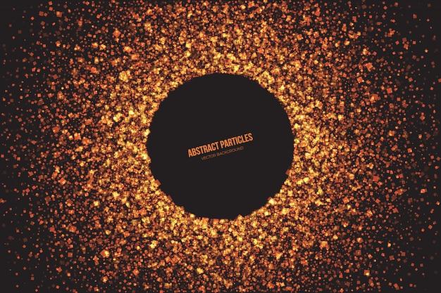 Fond abstrait vecteur de particules chatoyantes dorées