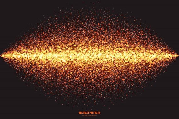 Fond abstrait vecteur de particules rougeoyantes