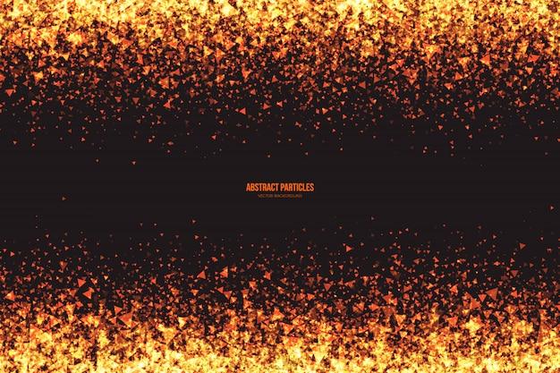 Fond abstrait vecteur de particules triangulaires rougeoyantes miroitantes dorées