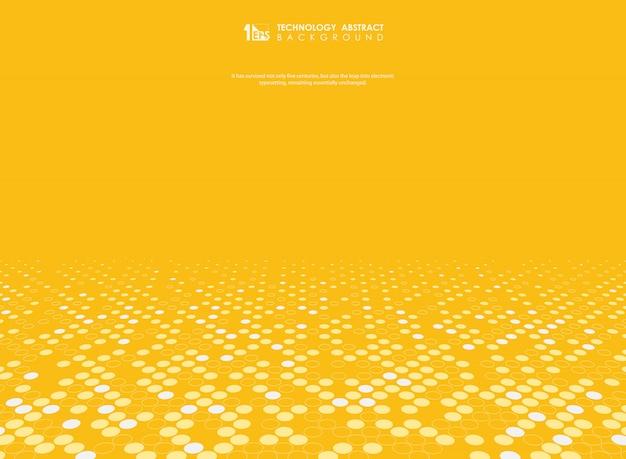 Fond abstrait vector jaune avec décoration de demi-teintes.