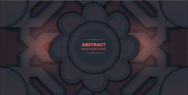 Fond abstrait vectoriel avec des couches métalliques gris foncé. forme de fleur au milieu.