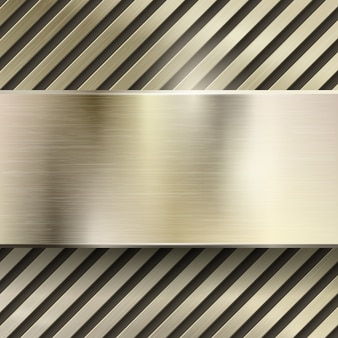 Fond abstrait vectoriel en métal. modèle en acier ou fer métallique brillant, panneau poli, grille ou rayé, illustration or brossé