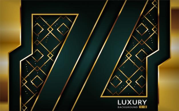 Fond abstrait vert marine de luxe premium avec lignes dorées.