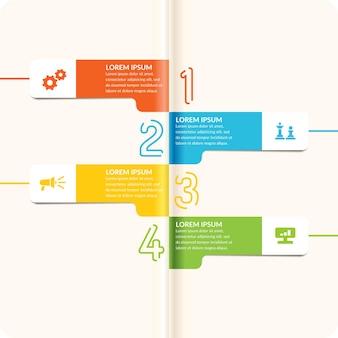 Fond d'affaires. illustration avec des nombres colorés linéaires, avec des drapeaux et des roues sur fond blanc pour infographie