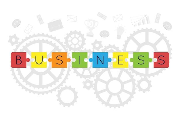 Fond d'affaires. des puzzles colorés s'assemblent pour former une entreprise. les éléments d'une entreprise prospère se trouvent à l'arrière. contexte pour le site web.