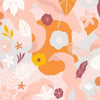 Fond d'affiche de fleurs et feuilles colorées