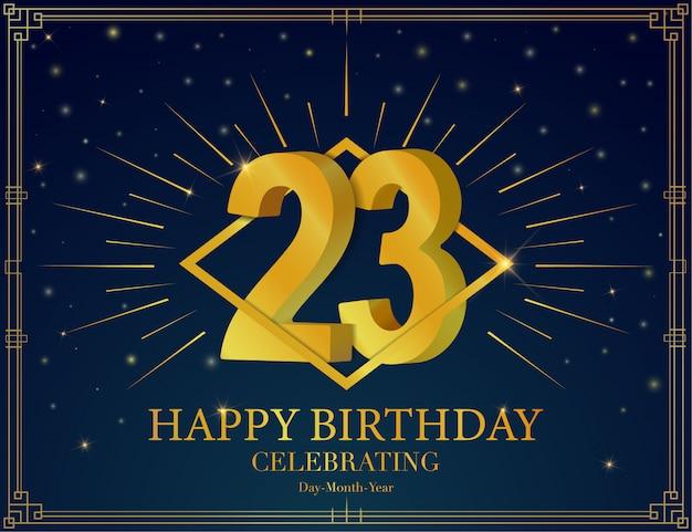 Fond d'affiche joyeux anniversaire 23e anniversaire.