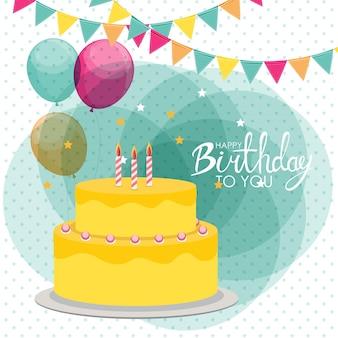 Fond d'affiche joyeux anniversaire avec gâteau. illustration vectorielle eps10