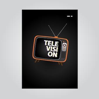 Fond d'affiche de télévision avec illustration de télévision et texte de pépin