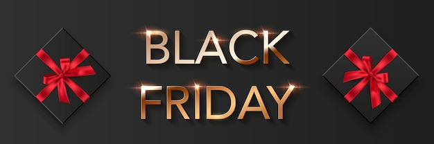 Fond d'affiche de vente vendredi noir. offre premium avec annonce de réductions. police d'or, boîtes noires avec des arcs rouges, illustration de l'offre spéciale, dépliant promotionnel élégant et moderne.