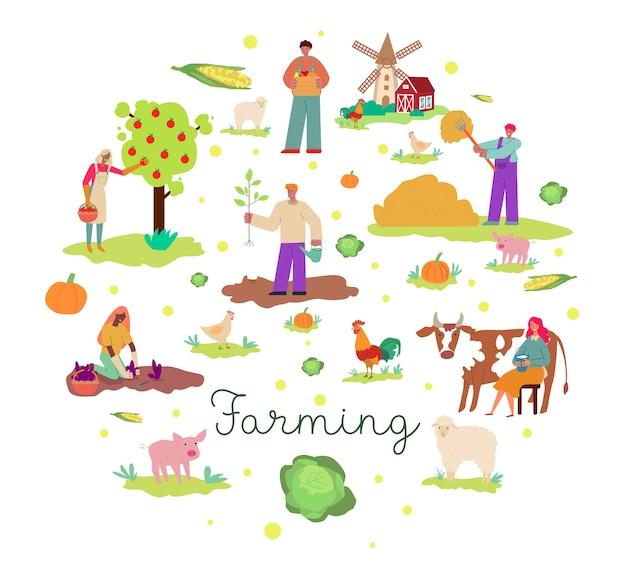 Fond agricole coloré au design plat