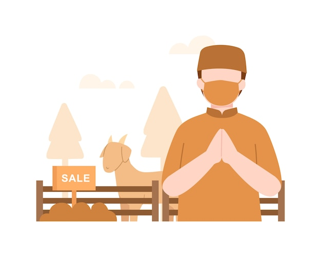 Fond de l'aïd al-adha avec un homme musulman vend une illustration de chèvre