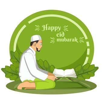 Fond de l'aïd al fitr avec mosquée dessinée à la main du peuple musulman et ornement de ramadan islamique