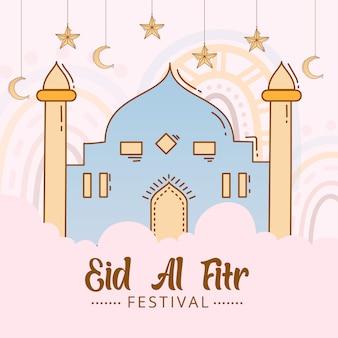 Fond de l'aïd al fitr avec mosquée doodle dessiné à la main