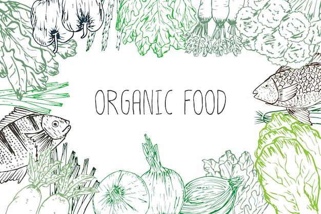 Fond d'aliments biologiques dessinés à la main. herbes, épices et fruits de mer biologiques. dessins d'aliments sains définissent des éléments pour la conception de menus. illustration vectorielle