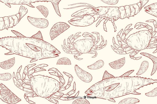 Fond d'aliments naturels dessinés à la main