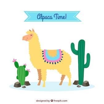 Fond d'alpaga mignon avec cactus