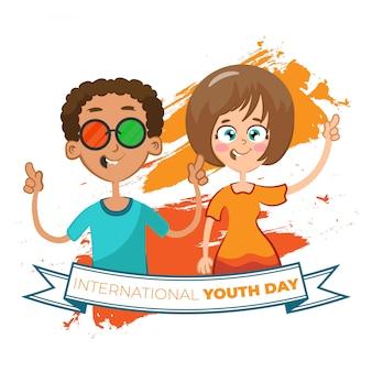 Fond d'amis célébrant la journée de la jeunesse